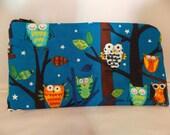 Pencil Pouch, Owl Makeup Bag, Owl Gadget Case, Owl Medicine Bag, Colorful Night Owls, Medicine Pouch, Makeup Pouchh