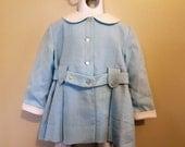1960s Toddler Girls Light Blue Coat - Dress - 4T