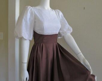 1960s Brown & White Dirndl Full Skirt Dress