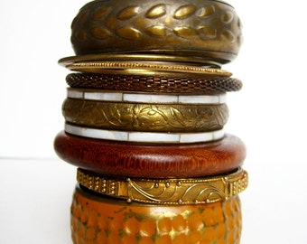 Bangle stack, bracelet stack, set of 8, Gypsy, Boho, Earthy, Distressed vintage, aged brass: Vintage Collection