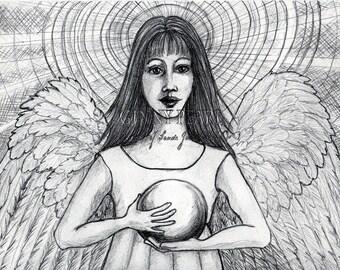 Pearls of Wisdom Angel, 8x10 print of original pencil drawing