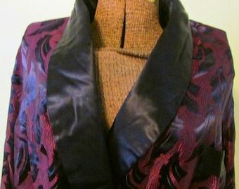 Vintage Smoking Jacket Mens Robe or Womens Hugh Hefner Navy Blue and Wine Sash with Tassels Art Deco Robe Dressing Gown
