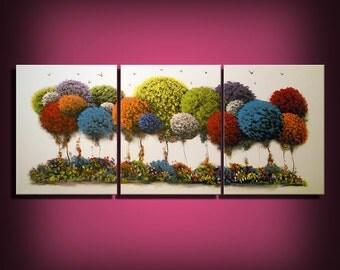 Happy Trees 66 inch large painting - Mattsart