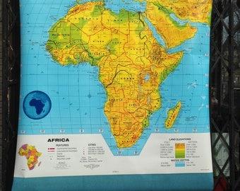 VIntage Cram's School Classroom Map of Africa Retractable