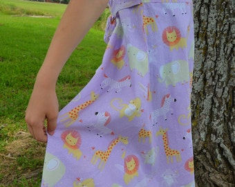 Baby, Toddler and Youth Girls Handmade Organic Cotton Long Sleeveless Dress - Lavender with Zoo Animals - Animaux 3161