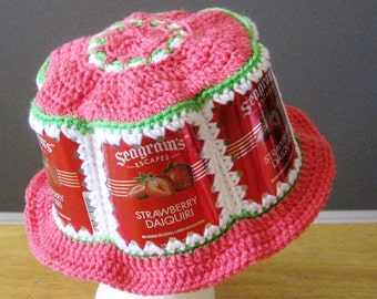 Crocheted Wine Cooler Can Hat - Seagram's Strawberry Daiquiri