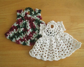 Crocheted Pair of Holiday Dishcloths - Christmas Angels