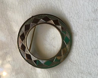 Vintage 1960 Geometric Gold Brooch Minimalist Jewelry Gold Circle Pin