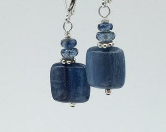 Blue Kyanite and Bali Silver Earrings, Kyanite Earrings, Spring Earrings, Mothers Day Earrings, Square Stones, Denim Blue Earrings