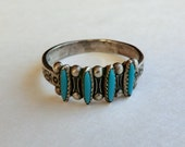 Vintage Sterling Turquoise Ring Needlepoint Turquoise Bell Trading Post