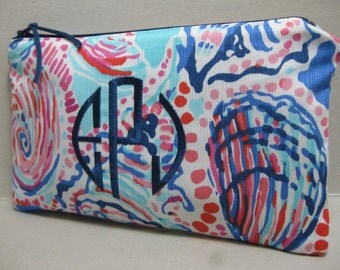 Lilly Pulitzer Make Up Bag/Clutch/Pencil Case  (Multi Shell Me About It) w/ or w/out Monogram/Holiday Gift Giving / Preppy/Sorority