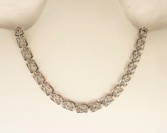 Vintage Danecraft Sterling Elegant Openwork Rectangular Link Necklace