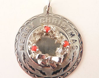 Large Vintage Sterling Merry Christmas Wreath Medallion Charm