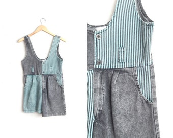 Size Youth 11/12 // COLORBLOCK DENIM ROMPER // Acid Wash - Black & Green - Striped Playsuit - Vintage '80s.