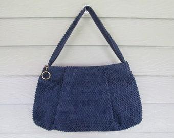 Lumured Navy Blue Beaded Handbag