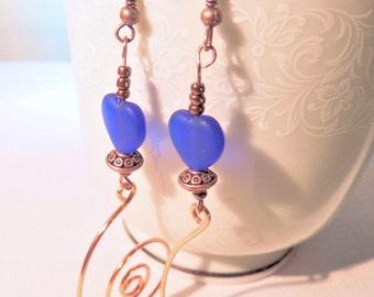 Heart Earrings, Blue and Copper, Copper Earrings, Valentine Jewelry, Handcrafted Jewelry, Dangle Earrings, Boho Jewelry