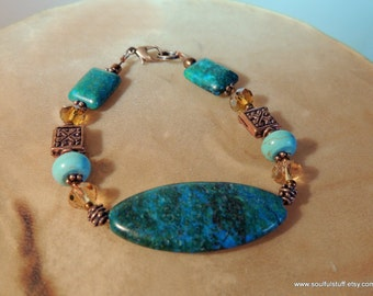 Chrysocolla and Turquoise Bracelet, Chrysocolla and Copper, Blue and Green, Handcrafted Jewelry, Cowgirl Jewelry, Native Style