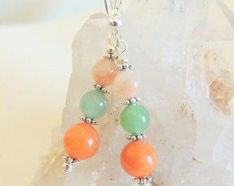 Aventurine Earrings, Peach and Green, Dangle Earrings, Spring Jewelry, Handcrafted Jewelry, Boho Style