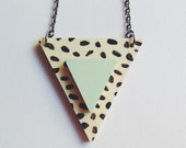 Triangle Necklace - flecked with mint