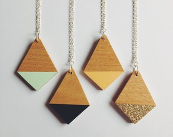 Geometric Necklace - Dipped Wooden Diamond - four colours