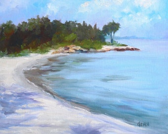 Castaway, 8x10 Oil on Canvas Panel, Seascape with Beach
