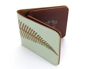 Leather Wallet /  Men's Leather Wallet  / Leather Card case  - Minimal Fern (Exclusive Range)