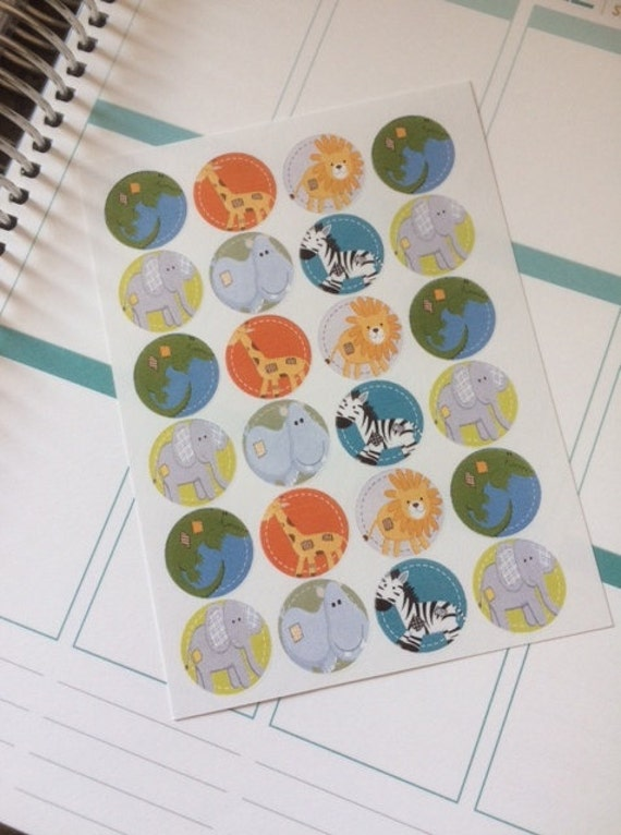 24 Animal Stickers Scrapbook Stickers Planner Stickers Calendar Stickers Day Planner Stickers Life Planner