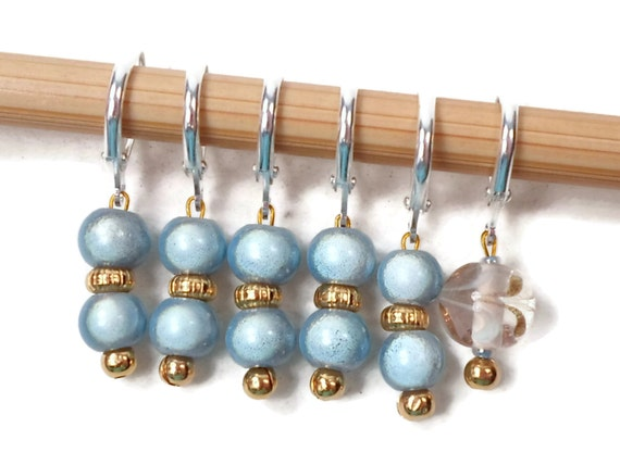 Baby Blue Locking Stitch Markers Crochet Row Markers Removable