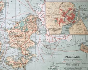 Large  Antique Map of Denmark - Inset of Iceland - Copenhagen - Vintage Map - Home Decor - Office Decor