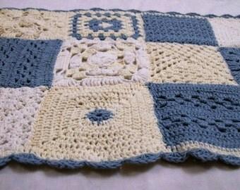 Vintage Crochet, Vintage Doily, Doilies, White And Blue Doily, Rectangle Doily, Rustic Decor