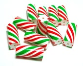 Red, White and Green Christmas Tube Beads - Peppermint Stick Candy -  Handmade Polymer Clay Beads