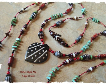 Boho Tribal Necklace, Hand Knotted, African Trade Beads, Handmade Bohemian Jewelry, BohoStyleMe, Kaye Kraus