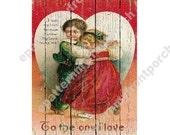 No Paint Printable Vintage Valentines Painting on Boards , Print and decoupage or adhere to framed canvas , looks like a real wood painting