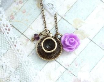 Tea Cup Necklace Purple Rose Necklace Tea Lover Gift Teacup Necklace Victorian Necklace Tea Party Necklace