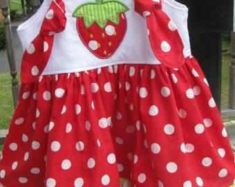 red  strawberry knot dress. strawberry birthday, strawberry shortcake, 1st birthday dress, 2nd birthday, strawberry birthday, smash cake