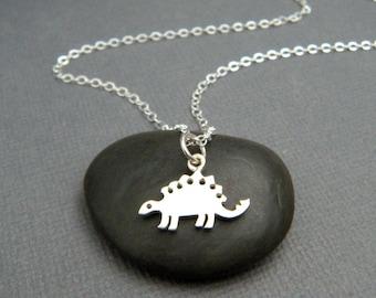 "tiny stegosaurus necklace. sterling silver dinosaur pendant. Jurassic animal extinct prehistoric charm. small jewelry. paleontologist 1/2"""