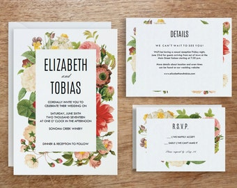 Printable Wedding Invitation Template | INSTANT DOWNLOAD | Lush Florals | DIY | Editable Adobe pdf | Response and Info Card Set