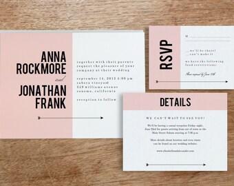 Printable Wedding Invitation Template   INSTANT DOWNLOAD   Pink Block   DIY   Editable Adobe pdf   Response and Info Card Set