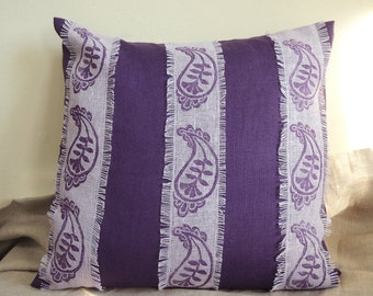 Royal Purple hand block printed linen Palace Paisley textured fringed lavender stripe pillow cover