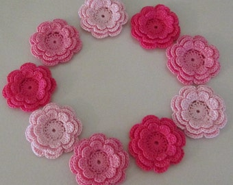 Pink Flower Appliques, Three-Layer Flowers, Handmade, set of 9