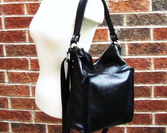 Black slouchy leather bag shoulder purse messenger with large front zip pocket