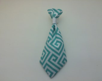 Pet Neck Tie - Aqua Greek Key Pattern - Over the Collar - Custom