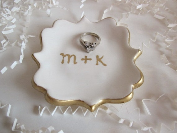 Mr. and Mrs. ring dish, wedding shower gift, gift for bride, gold rim, hand made pottery