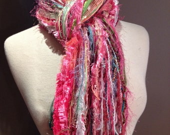 Fringie in Springtime - Multi-texture tied scarf / photo prop in pink, green blue, girly scarves, teen gifts, pink scarves, boho, handmade