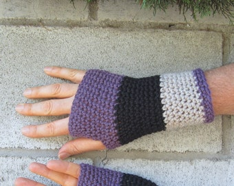 men's fingerless gloves/ plum mix wool crochet