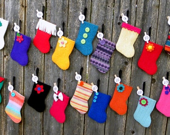 Advent Calendar - Rescued Wool Mini Stocking Ornaments - 2016 Set E - set of 25 - recycled wool sweaters - shinysparklepretty