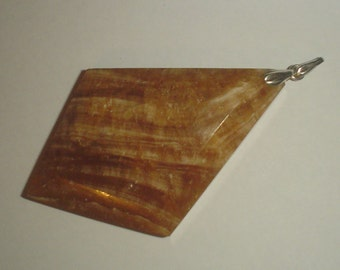 Huge pendant vintage alabaster and continental 835 silver geometric not sterling