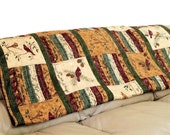 FREE SHIPPING! Reversible Masculine Lap Quilt - Cats and Birds - Patchwork Sofa Throw Blanket, Brown Red Navy Blue, Great Guy Gift