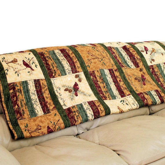 REVERSIBLE MASCULINE Lap Quilt - Cats and Birds - Patchwork Sofa Throw, Brown Red Navy Blue, Great Guy Gift, Country Blanket