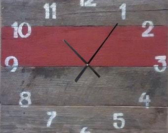 Pallet Clock - Barn Red Slat